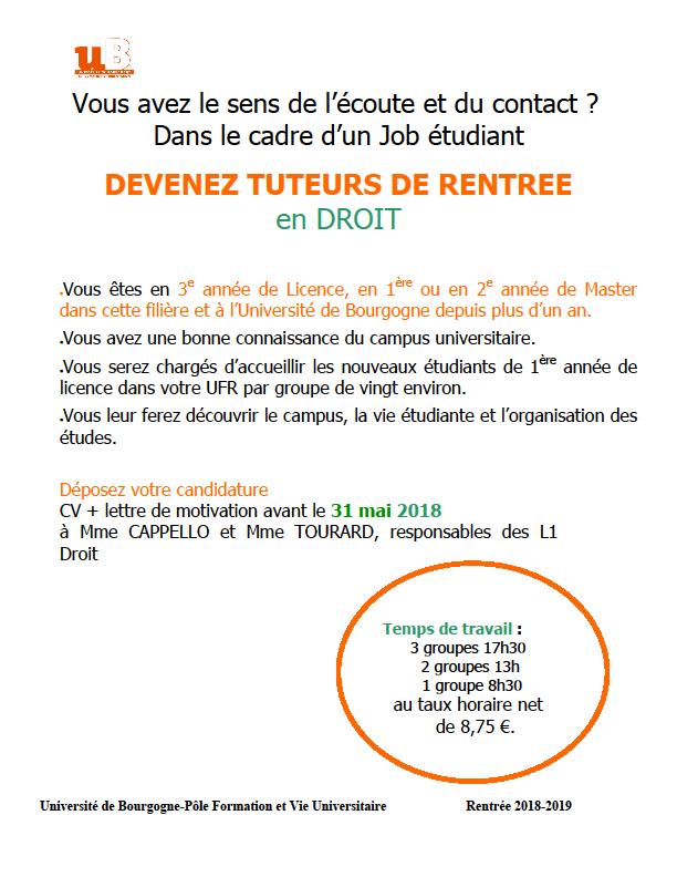 Recrutement Tuteurs Rentree Ufr Dsep Universite De Bourgogne