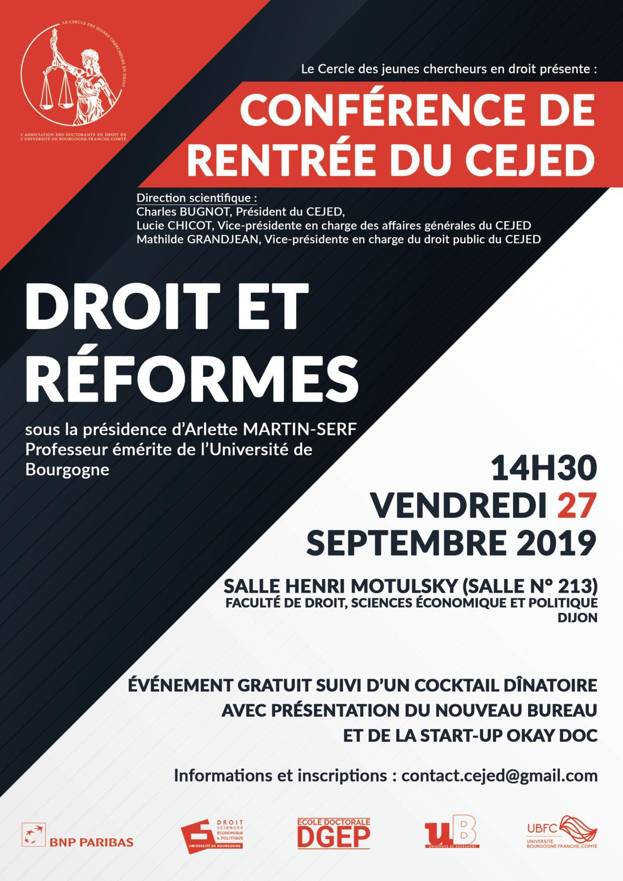 Conférence de rentrée du CEJED1