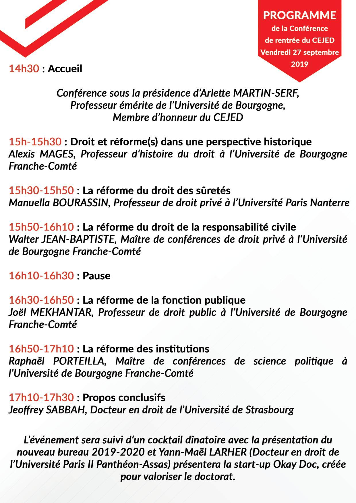 Conférence de rentrée du CEJED2