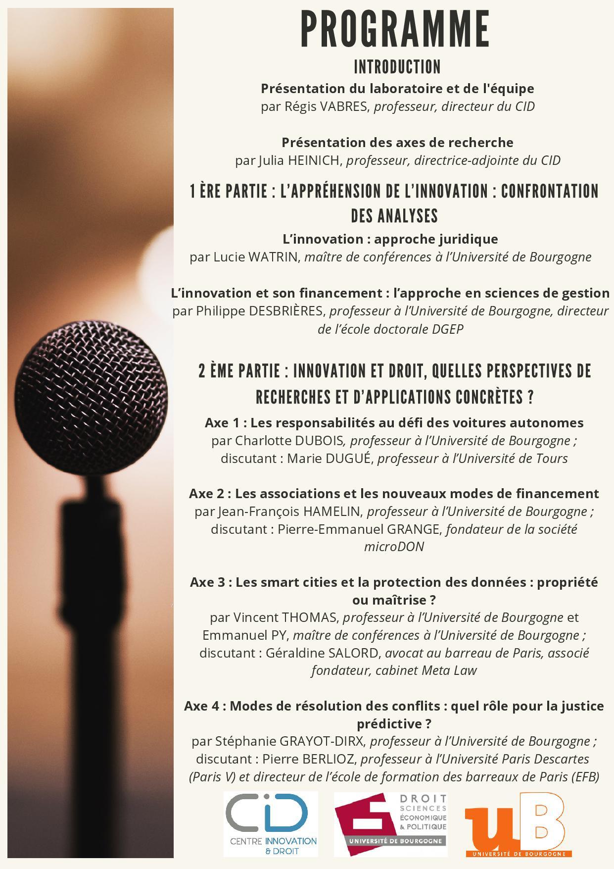 Conference inaugurale du centre innovation et droit2