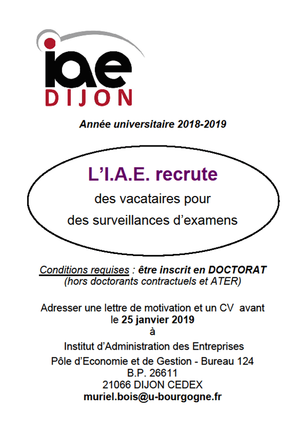 recrutement examens IAE 2019