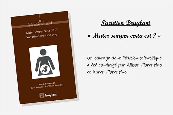 Parution chez Bruylant «Mater semper certa est ?»