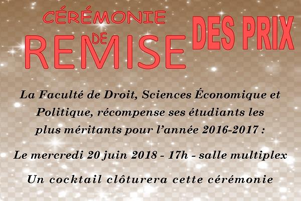 Remise des prix universitaires 2016/2017 - 20 juin 2018